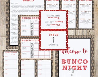 Christmas | Winter | Holiday | Gingerbread Themed Bunco Printable Set | Scorecard, Table Numbers, Instructions and More