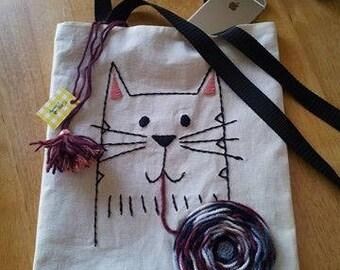 Bag fabric embroidery/bag embroidery/tote bag/bags/hand bag tote/handbag/embroidery/cat embroidery/bag/bag embroidered handbag