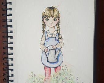 Little garden girl nursery art print