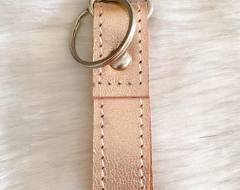 Leather key ring * rose copper