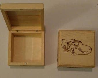 Pyrography Handcrafted Wood Burned Wood Burning Box Cars Keepsake Tooth Fairy