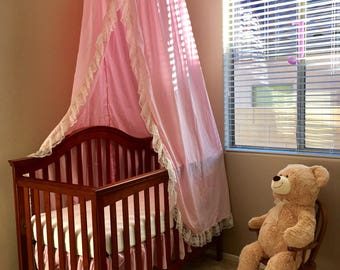 Folding Pink Cotton Play Canopy