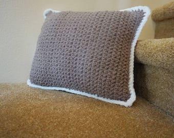 Taupe and White Handmade Crochet Throw Pillow 18x16