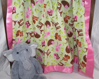Woodland Creatures Animals Infant/Toddler/Baby Cotton Flannel Blanket with Satin Trim 42x42 Girl