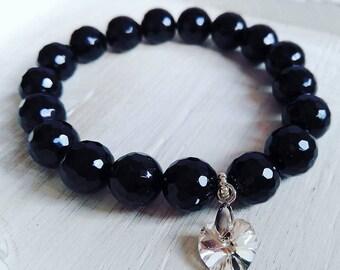 Elegant Onyx  and Swarovski Bracelet