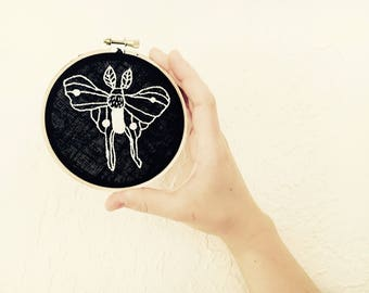 Luna moth art / wall art / frame / framed art / hand embroidered / hand embroidery / luna / luna moth / moon / moth / wall decor / hand made