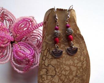 Silver fuschia flower Japanese fan earrings half moon pendant - gift idea for woman