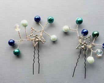 Handmade Hairpins- Blue Fairies