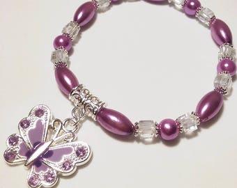 Purple Butterfly Beaded Bracelet