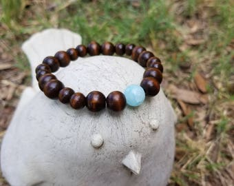 Stackable Wooden Meditation Bracelet || 5th Chakra || Healing Properties ||