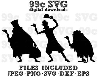 Hitchhiking Ghosts Disney SVG DXF Png Vector Cut File Cricut Design Silhouette Cameo Vinyl Decal Party Stencil Template Heat Transfer Iron