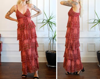 Strappy Tiered Silk Maxi Flapper Dress