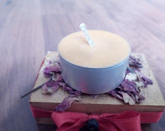 Non-GMO soy wax candle. Tea light