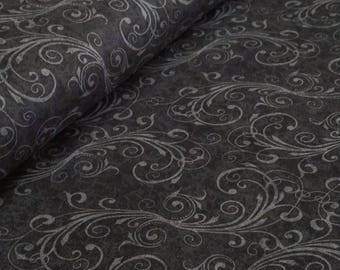 Holiday Homecoming Black Swirls Fabric