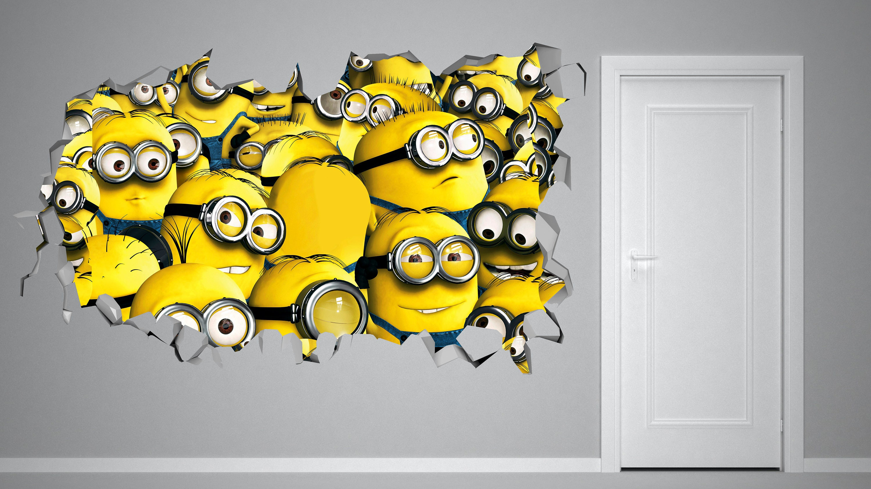 Minions Despicable Me 3 Smashed Wall Decal 3D Kids Sticker Art Decor ...