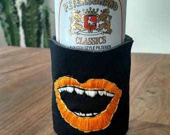 Custom Embroidered Drink Cozy - Orange Mouth