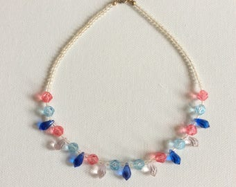 Vintage wedding necklace. Bridesmaid. Flower girl. 1960's blue and pink crystal necklace.