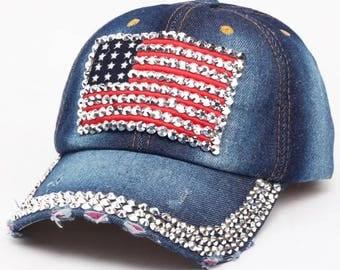 American Flag Rhinestone Embellished Denim Baseball Cap