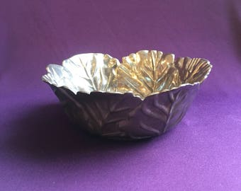 Vintage Lenox metal cabbage leaf bowl
