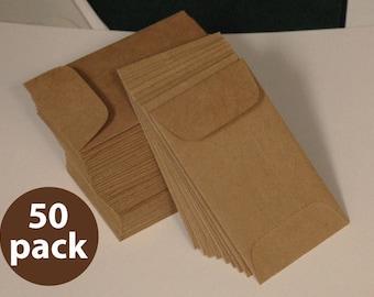 Brown Bag Kraft Mini Envelope 2-1/4 x 3-3/4, 50 Pack