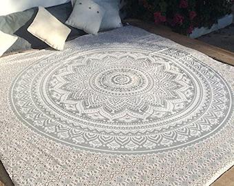Gray Wall Hanging Tapestry, Mandala Tapestry (FREE SHIPPING)