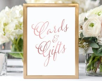 Wedding Cards and Gifts Sign Rose Gold Wedding Reception Sign Rustic Wedding Decor Cards and Gifts Wedding Sign Wedding Decorations
