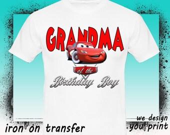 Cars Iron On Transfer, Grandma, Cars Birthday Shirt, Cars Transfer, Cars Shirt, Instant Download, Digital File