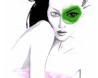 Girl with a Green Splotch Original