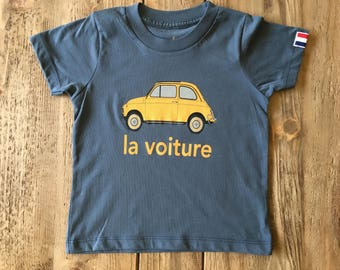 La voiture t-shirt for toddlers and kids by francophonic.  Organic Cotton.  Made in the USA. Sizes 2, 4, and 6.