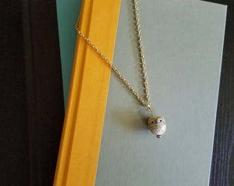 Ceramic Yellow Owl Necklace, Gold Necklace, Owl Necklace, Yellow Necklace