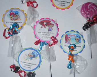 15 Shimmer and Shine swirl lollipop party favors personalized with custom tags