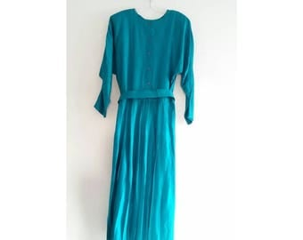 Vintage 1960s 60s Rabbit Designs Turquoise Green Minimal Long Sleeve Button Back Pleated Belted Maxi Dress Sz 14 Large