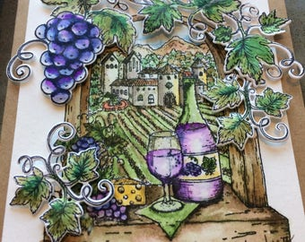 Handmade Note Card, Winery theme, Tuscany vineyard, water colored card, any occasion, friendship, birthday, sharing wine with friends,