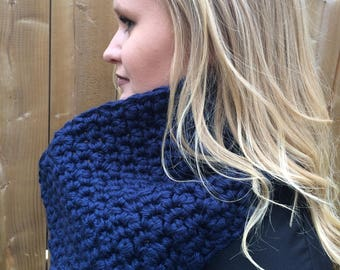 Navy Blue Crocheted Cowl