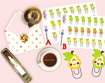 Cute Emoji Pear Sticker, Emoji Planner Stickers, Kawaii Fruit Emoticon Sticker, Planner Accessories, Planner Stationary Accessory
