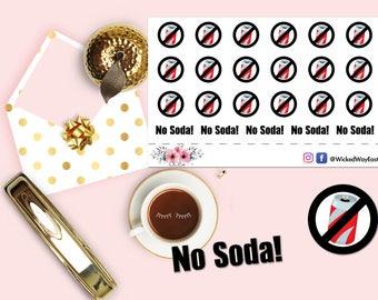 No Soda Sticker, No Soda Sign, No Soda Planner Stickers, Planner Sticker, Soda Sticker, Scrapbook Sticker, Planner Accessory - 23 Stickers