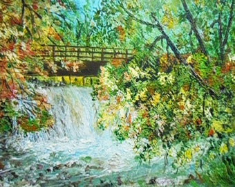 Waterfall painting - palette knife painting - Waterfall acrylic painting - Texture painting waterfall - Landscape painting waterfall