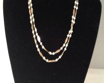Trifari fillagree gold tone and pearl necklace