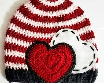 Valentine's Day crochet beanie #1
