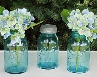 Vintage Ball Blue Quart Mason/Canning Jars Circa 1923-1933