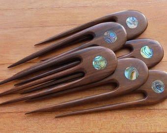3 Prongs Wood Hair Sticks with Paua Shell Inlay, Hair Pin, Wood Hair Fork, Hair Accessories HS61