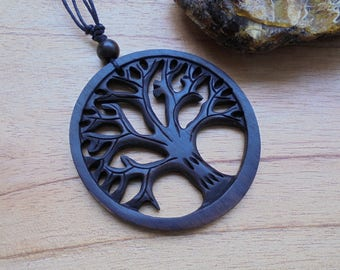 Tree of Life Wood Pendant, Wood Necklace,Wood Carving Jewelry  LG