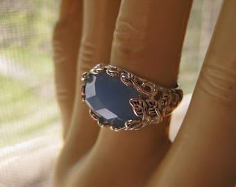Milky Aquamarine Blue Ring