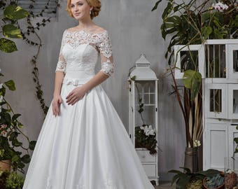 Wedding dress open back towing lace top 3/4 sleeve strapless wedding gown wedding dress 2 pieces MONICA with Bolero