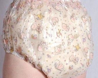 Medical Vinyl PVC Plastic Adult Baby Sissy AB ABDL Diaper Pants Panties Nappy Medium