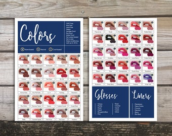 Digital—LipSense Color Cards—Navy Blue and Gold—ALL 50 COLORS*