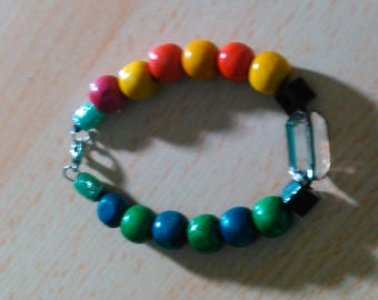 Night and day multicolored bracelet with a clear glass diamond bead