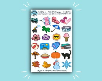Small Seasonal Icons | Seasonal Planner Sticker | Bullet Journal Stickers | Stickers for Planners, Journals and More | Journaling Supplies