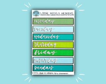 Cool Tone Large Weekly Headers | Header Planner Stickers | Bullet Journal Stickers | Stickers for Planners + Journals | Journaling Supplies