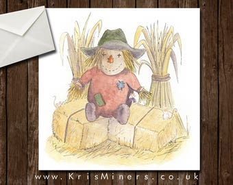 Whimsical Autumn / Halloween Greetings Card - Mr Scarecrow